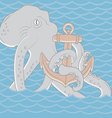 octopus with anchor background vector image