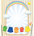 An entrance with hanging clothes vector image vector image