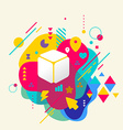 Cube on abstract colorful spotted background with vector image