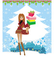 Christmas shopping on a snowy day vector image