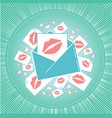 icon of love envelope with kisses vector image