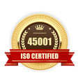 iso 45001 certified medal - occupational health vector image