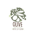 olive oil label with branch of olives hand drawn vector image