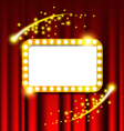Retro light sign and red curtain vector image