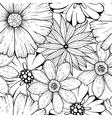 set of hand drawn colorless flowers and vector image