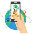 vacation planning with smart phone vector image