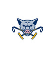 Wild Hog Head Crossed Polo Mallet Retro vector image