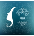 card with the profile of woman vector image