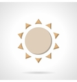Beige flat color sun icon vector image