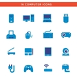 Blue computers device icons vector image