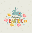 happy easter greeting card invitation with hand vector image