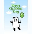 postcard smiling cartoon bear panda with balloon vector image