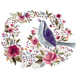 bird and flowers vector image vector image