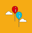 flat icon design collection two balloons in sky vector image vector image