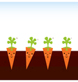 Cute beautiful cartoon Carrots in row vector image vector image