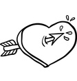 black and white heart with an arrow vector image vector image
