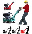 construction worker with compactor vector image