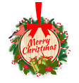 festive merry christmas tree wreath garland with vector image