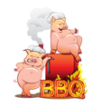 Two funny pigs near the red smoker vector image