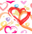 watercolor painted hearts seamless pattern vector image