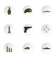 Weapons icons set flat style vector image
