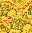 Mexican food seamless pattern background vector image vector image