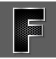 Metal grid font - letter F vector image
