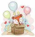 birthday card with a cute fox vector image
