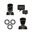 black silhouettes of icons set communication vector image
