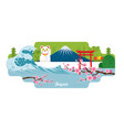 japan travel and attraction landmarks vector image