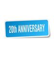 20th anniversary square sticker on white vector image