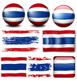 Thailand flag on different items vector image