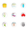 Classes in fitness room icons set cartoon style vector image