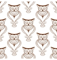 Cute owls retro seamless pattern vector image
