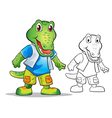 mascot cute crocodile cartoon vector image