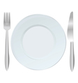 Background with plate fork and knife vector image