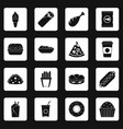 fast food icons set squares vector image