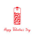 Love battery with hearts inside Valentines Day vector image