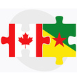 Canada and French Guiana Flags vector image