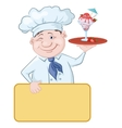 Chef with Ice Cream and Strawberries vector image vector image