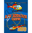 Air rescue with helicopters and equipment vector image