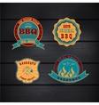 Barbecue BBQ grill logo stamp retro set vector image
