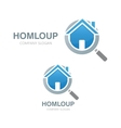 magnifier and house logo vector image