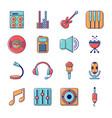 recording studio symbols icons set cartoon style vector image