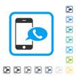 smartphone call balloon framed icon vector image