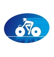 Blue icon of a racing cyclist vector image vector image
