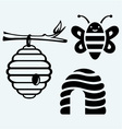 Honey bees and hive vector image vector image