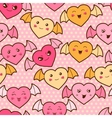 Seamless kawaii cartoon pattern with cute hearts vector image