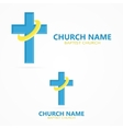 Christian cross church logo vector image