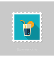 Cocktail flat stamp Summer Vacation vector image